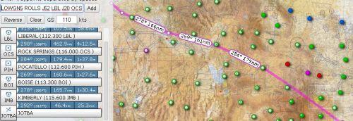 screen shot of flight plan to portland from sky vector